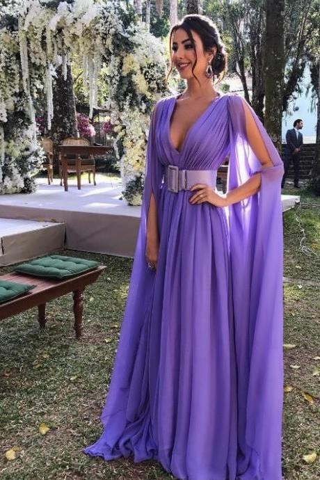 purple prom dress, v neck prom dress, chiffon prom dress, elegant prom dress, prom gown, vestido de festa de longo, a line prom dress, cheap prom dress, prom gowns, vestido de longo, prom dresses 2020