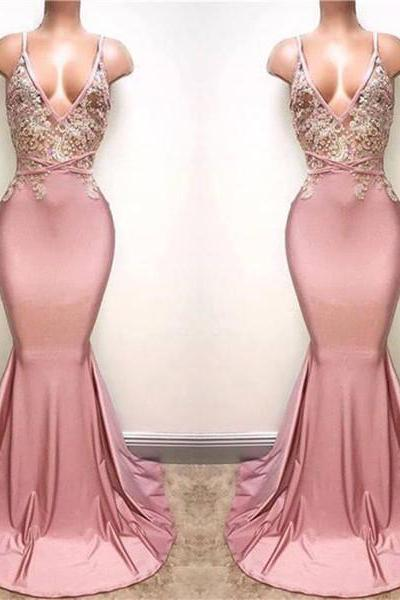 pink evening dress, sexy formal dress, lace applique evening dress, backless evening dress, evening dresses long, sexy formal dresses, mermaid evening dress, evening dresses long, 2020 evening dress, lace applique evening dress, women fashion