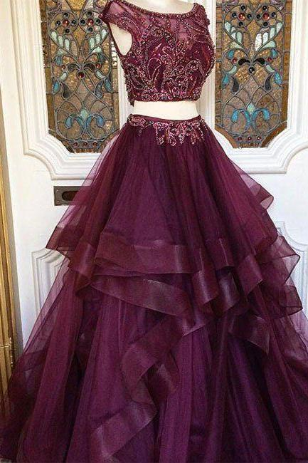 two piece prom dresses, deep purple prom dress, elegant prom dress, beaded prom dress, tiered prom dress, prom gown, vestido de festa, robe de soiree, crystals prom dress, 2 piece prom dresses, vestido de longo, cheap prom dress, robe de soiree
