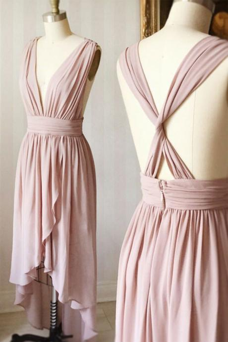 dusty pink bridesmaid dress, high low bridesmaid dress, bridesmaid dresses long, chiffon bridesmaid dress, wedding party dress, cheap bridesmaid dress, 2020 bridesmaid dress, bridesmaid dresses for women