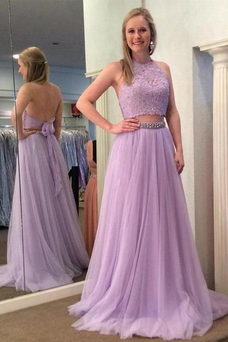 purple prom dress, 2 piece prom dresses, lavender prom dress, lace applique prom dress, prom gown, vestido de festa de longo, cheap prom dress, beaded prom dress, prom dresses long, women fashion, 2020 prom dresses