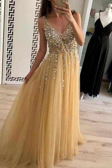 champagne prom dress, prom dresses 2020, beaded prom dresses, vestido de festa, robe de soiree, v neck prom dress, prom dresses long, tulle prom dresses, sexy formal dress, vestido de longo