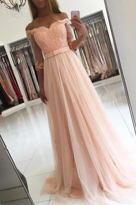peach prom dress, half sleeve prom dress, lace applique prom dress, beaded prom dress, elegant prom dress, cheap prom dress, 2020 prom dress, tulle prom dress, senior formal dress, vestido de longo