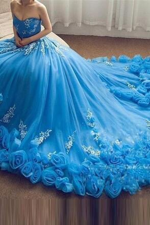 blue ball gown prom dress, prom ball gown, 3d flowers prom dress, sweet 18, elegant prom dress, lace applique prom dress, prom dress ball gown, 2020 prom dress, princess prom dress, vestido de graduacion