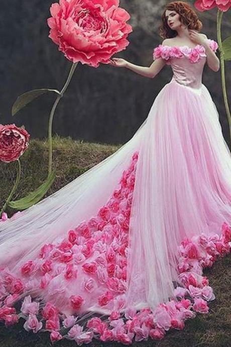 pink wedding dress, wedding ball gown, boho wedding dress, handmade flowers wedding dress, wedding dresses for bride, vestido de novia, robe de mariee, princess wedding dress, arabic wedding dress, vestido de novia