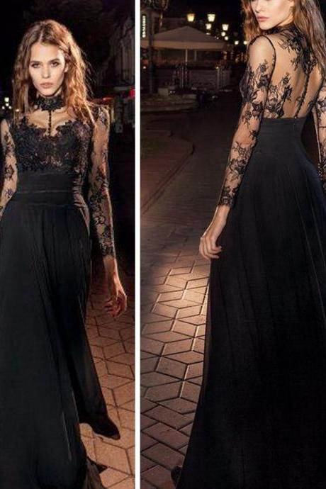 black prom dress, high neck prom dress, lace applique prom dress, cheap prom dress, elegant prom dress, prom gown, vestido de festa de longo, long sleeve prom dress, chiffon prom dress