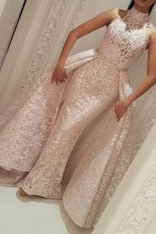 high neck evening dress, pink evening dress, detachable train evening dress, muslim evening dress, evening gown, elegant evening dress, vestidos elegantees, robe de soiree, cheap evening dress