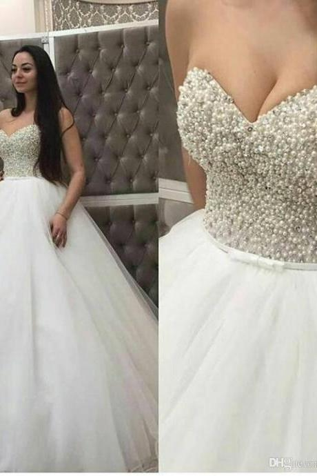 wedding gown, cheap bridal dress, beaded wedding dress, vestido de novia, peals wedding dress, white wedding dress, sweetheart wedding dress, weddig dresses 2020, cheap bridal dresses