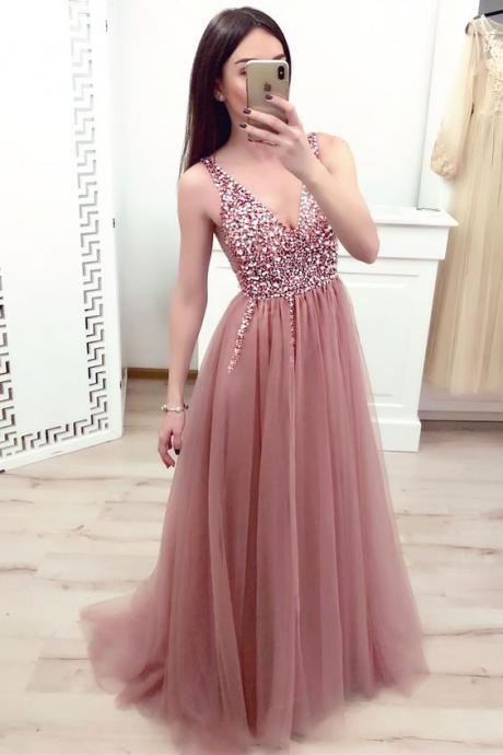 dusty pink prom dress, v neck prom dress, elegant prom dress, beaded prom dress, prom dresses long, sleeveless prom dress, vestido de longo, 2020 prom dress, cheap prom dress, evening gown