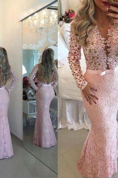 mermaid evening dress, long sleeve evening dress, elegant evening dress, pink evening dress, formal dress, evening gown, vestido de festa, lace applique evening dress, beaded evening dress, 2020 evening dress