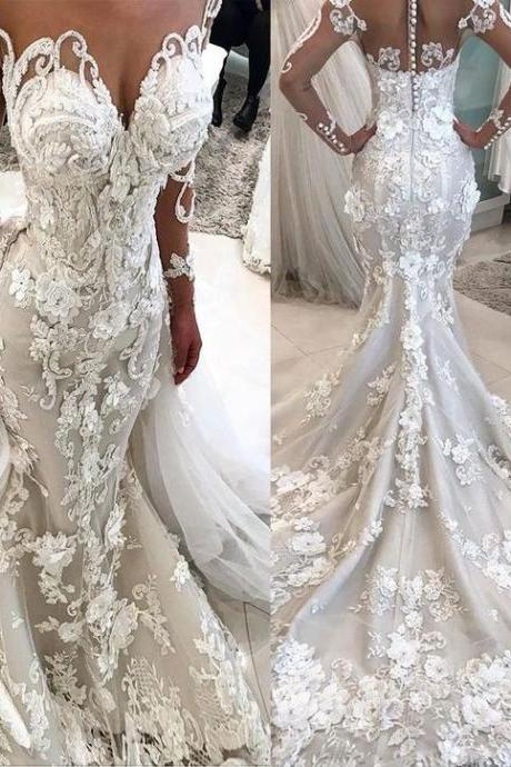 luxury wedding dress, wedding dresses for bride, vestido de novia, 3d flowers wedding dress, wedding gowns, mermaid wedding dress, 2020 wedding dress, vestido de noiva, robe de mariage