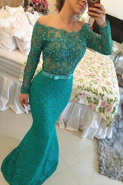 green evening dress, mermaid evening dress, beaded evening dress, robe de soiree, mother of the bride dresses, modest evening dress, long sleeve evening dress, elegant evening dress, green evening dress, formal dress