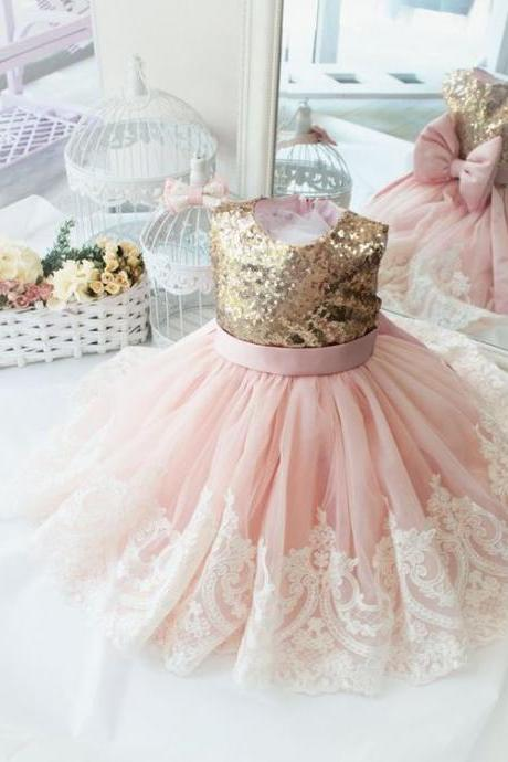 pink flower girl dress, baby girl birthday party dresses, lace applique flower girl dress, kids prom dress, cheap flower girl dresses, vestido de novia, elegant flower girl dress, toddler little girl dresses