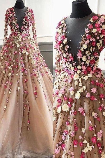 champagne prom dress, 3d flowers prom dress, long sleeve prom dress, elegant prom dress, prom ball gown, cheap prom dress, 2020 prom dress, vestido de graduacion, robe de soiree, evening gown, vestido de festa de longo