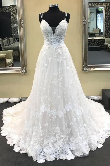a line wedding dress, boho wedding dress, lace applique wedding dress, elegant wedding dress, wedding gowns, cheap bridal dress, vestido de novia, 2020 wedding dress, real photo wedding dresses