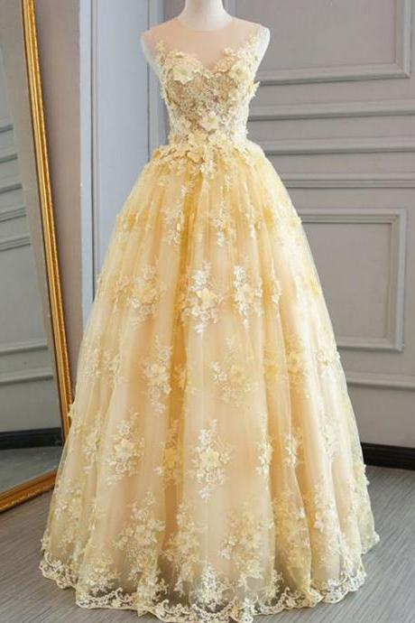 sleeveless prom dress, yellow prom dress, lace applique prom dress, 3d flowers prom dress, elegant prom dress, prom gown, vestido de festa de longo, robe de soiree, cheap prom dress, vestido de longo, 2020 prom dress