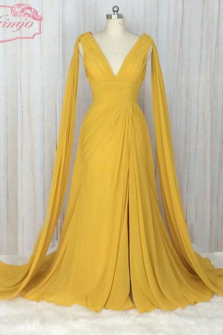 yellow bridesmaid dress, chiffon bridesmaid dress, a line bridesmaid dress, cheap bridesmaid dress, bridesmaid dresses long, 2020 bridesmaid dress, new arrival wedding party dresses, robe de soiree, real photo