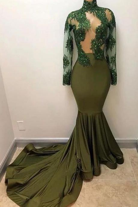 green evening dress, long sleeve evening dress, mermaid evening dress, high neck evening dress, sexy formal dress, evening gown, evening dresses long, lace applique evening dress, women fashion, 2020 evening dress