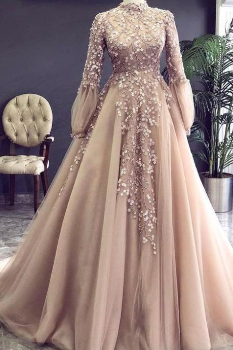 champagne prom dress, high neck prom dress, vintage prom dress, beaded prom dress, lace applique prom dress, robe de soiree, elegant prom dress, prom dresses 2020, vestido de festa