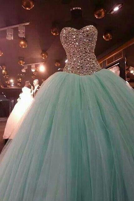 ball gown prom dress, mint green prom dress, crystals prom dress, prom ball gown, beaded prom dress, sweet 18 dresses, vestido de graduacion, elegant prom dress, 2020 prom dress, robe de soiree, vestido de festa de longo, cheap prom dresses