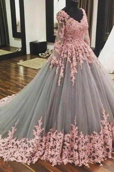 gray pink prom dress, lace applique prom dress, elegant prom dress, prom ball gown, long sleeve prom dress, vestido de graduacion, robe de soiree, vestido de festa de longo, 2020 prom dresses