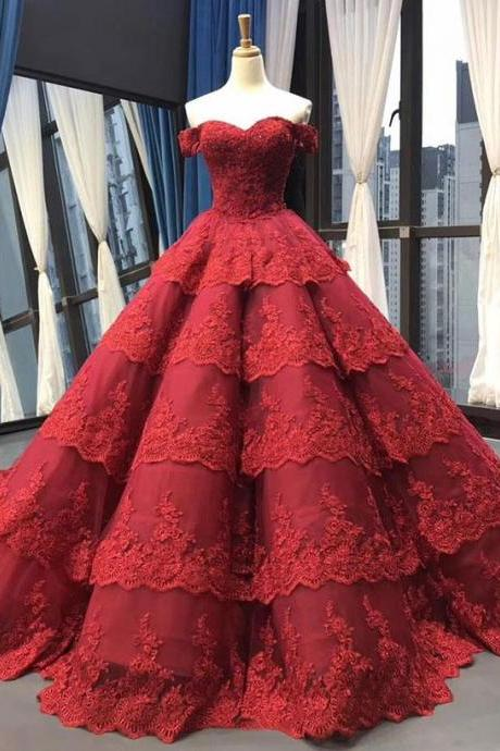 red ball gown wedding dress, wedding ball gown, red wedding dress, lace applique wedding dress, vestido de novia, luxury wedding dress, ball gown wedding dresses, 2020 wedding dress, boho wedding dress, princess wedding dresses, wedding dresses for bride
