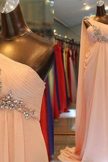 pink prom dress, one shoulder prom dress, robe de soiree, vestido de festa de longo, chiffon prom dress, beaded prom dress, a line prom dress, cheap prom dress, prom gown, evening dresses long, vestidos de fiesta