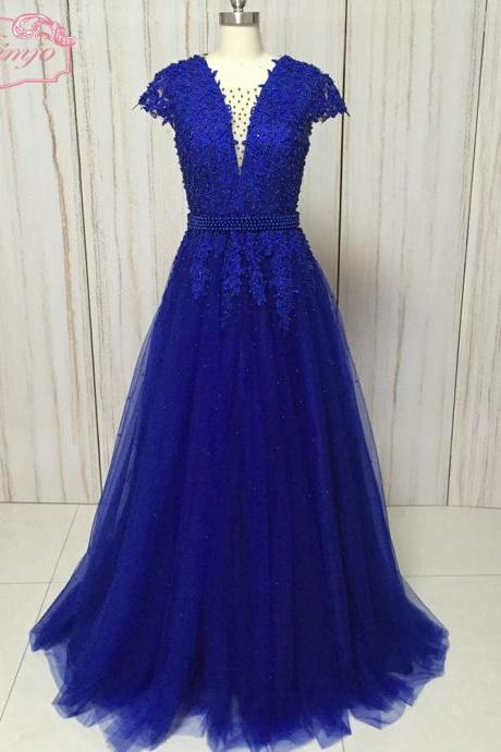 royal blue prom dress, lace applique prom dress, cap sleeve prom dress, prom gown, vestido de longo, a line prom dress, beaded prom dress, elegant prom dress, robe de soiree, 2020 prom dresses, real work, v neck prom dress, senior formal dress