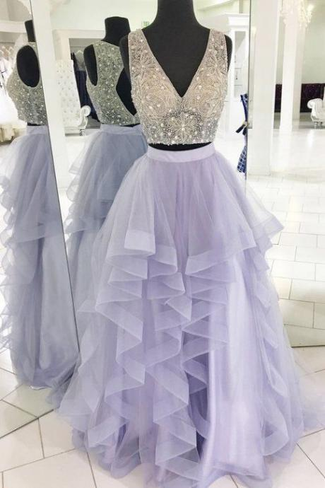 lavender prom dress, beaded prom dress, crystal prom dress, v neck prom dress, two piece prom dresses, purple prom dress, prom gown long, prom dresses long, vestido de festa de longo, 2020 prom dresses