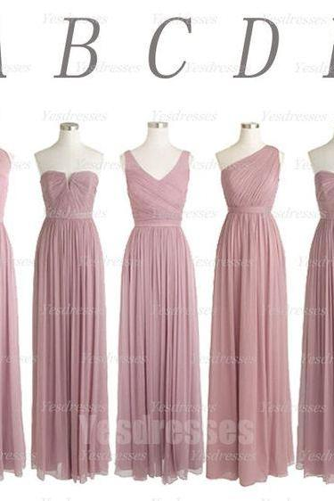 dusty pink bridesmai dress, long bridesmaid dress, mismatched bridesmaid dresses, wedding party dress, chiffon bridesmaid dress, wedding guest dresses, robe de soiree, a line bridesmaid dresses, 2020 bridesmaid dress