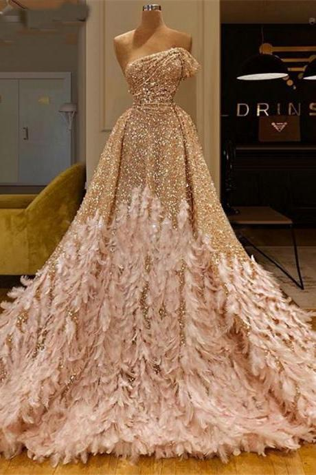one shoulder prom dress, ball gown prom dress, champagne prom dress, feather prom dress, prom ball gown, luxury prom dress, sparkly prom dress, vestido de festa de longo, elegant prom dress, 2020 prom dresses