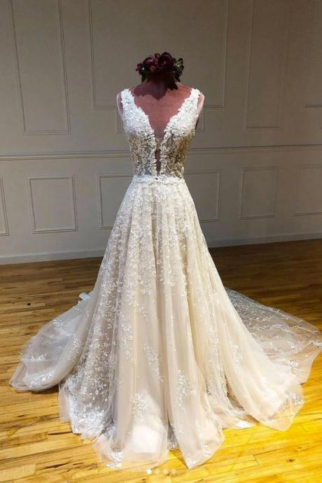 deep v neck prom dresses, lace applique prom dress, prom gown, elegant prom dress, sleeveless prom dress, robe de soiree, vestido de longo, a line prom dress, prom dresses 2020
