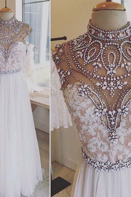 white prom dress, crystals prom dress, beaded prom dress, prom gowns, lace applique prom dress, robe de soiree, vestido de festa de longo, elegant prom dress, 2020 prom dress, cheap prom dress, evening gown