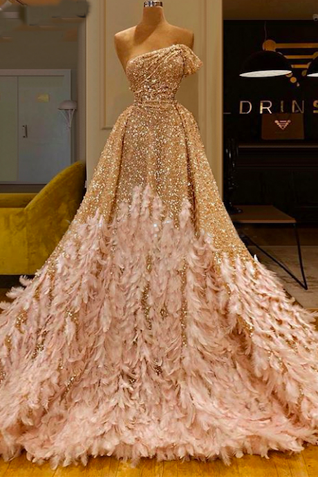 luxury prom dress, champagne prom dress, feather prom dress, prom ball gown, detachable skirt prom dress, sparkly prom dress, robe de soiree, vestido de festa de longo, elegant prom dress, prom gowns, one shoulder prom dress