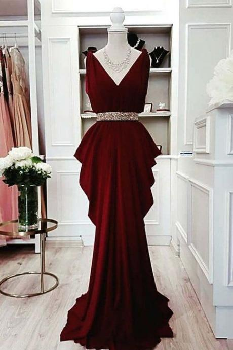 elegant evening dress, burgundy evening dress, beaded evening dress, formal dress, mermaid evening dresses, vestido de festa de longo, robe de soiree, 2020 evening dress, sleeveless evening dress, evening gowns