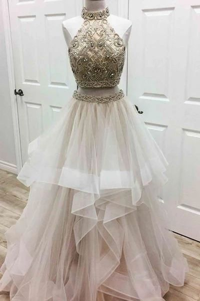 2 piece prom dresses, beaded prom dress, high neck prom dresses, tiered prom dresses, prom gowns, vestido de longo, champagne prom dress, prom dresses 2020, evening gown, vestido de festa de longo, evening gowns