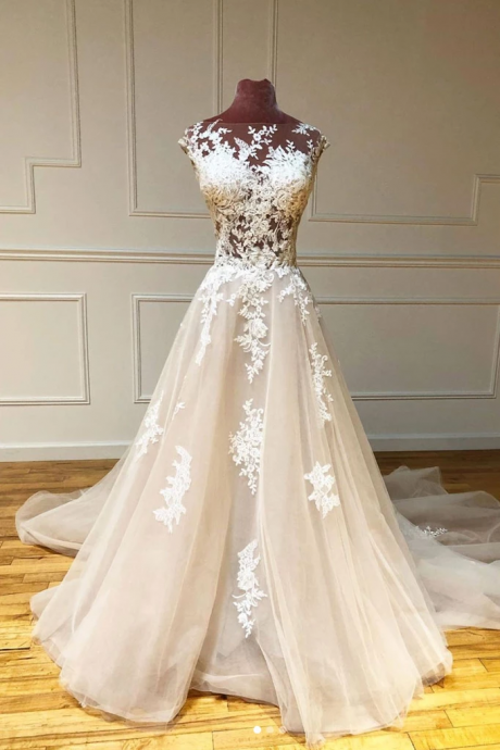 champagne wedding dress, boho wedding dress, lace applique wedding dresses, wedding gown, a line wedding dresses, 2020 wedding dress, vestido de novia, elegant wedding dresses