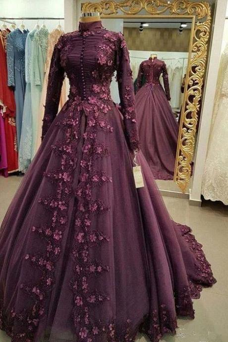 muslim prom dress, vintage prom dress, high neck prom dresses, lace applique prom dress, elegant prom dresses, robe de soiree, vestido de festa de longo, prom ball gown, dubai fashion prom dress