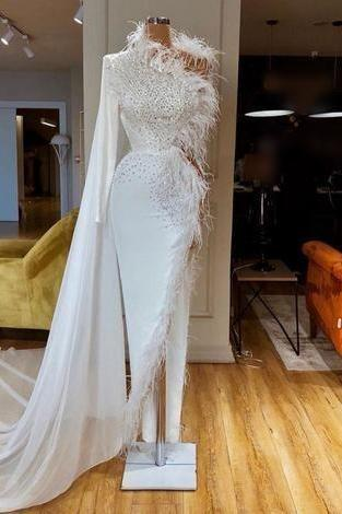 feather evening dress, white evening dress, high neck evening dress, evening gown, formal party dresses, beaded evening dress, modest evening dress, vestido de festa de longo, robe de soiree, elegant evening dresses, 2020 evening dresses