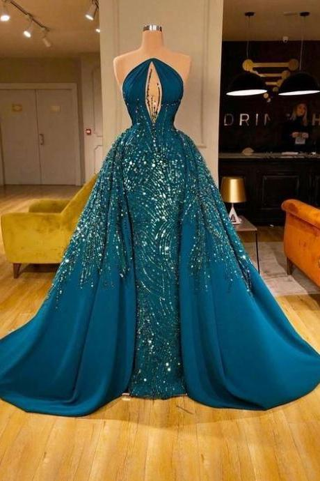 luxury prom dress, beaded prom dresses, green prom dress, vestido de festa de longo, crystals prom dresses, elegant prom dresses, detachable prom dress, prom ball gown, 2020 prom dresses, vestido de longo