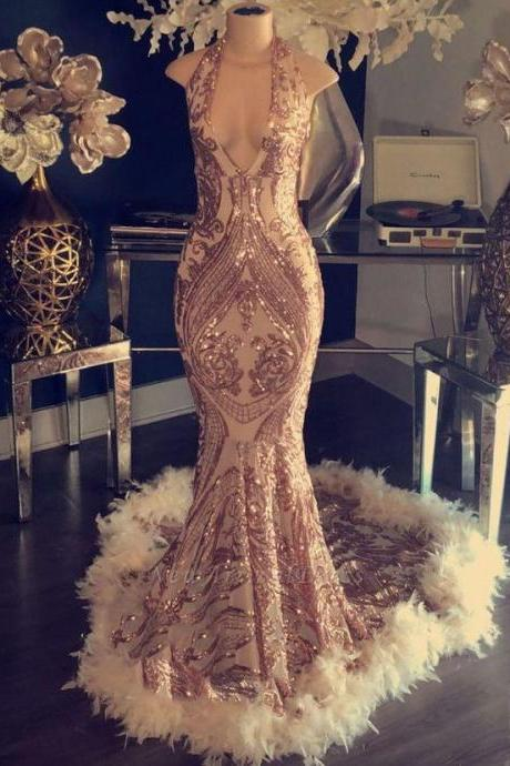 rose gold evening dress, mermaid evening dresses, feather evening dress, formal dress, vestido de longo, elegant evening dress, sexy formal dresses, sparkly evening dress, evening gowns