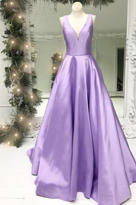 purple prom dress, v neck prom dress, senior formal dresses, satin prom dress, cheap prom dress, prom dresses 2021, vestido de festa de longo, elegant prom dresses, prom dresses long