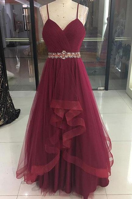 beaded prom dress, burgundy prom dress, prom dresses 2021, spaghetti straps prom dress, cheap prom dresses, prom dresses 2020, vestido de longo, cheap prom dresses