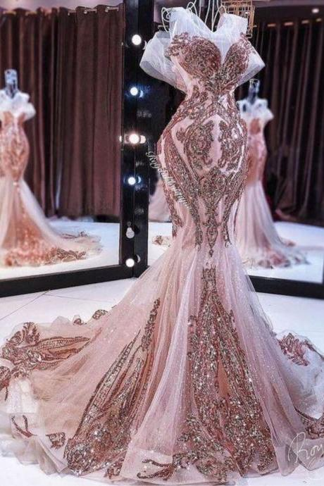 rose gold evening dress, sparkly evening dresses, long evening dress, mermaid evening dresses, sequin applique evening dress, evening dresses 2020, women formal dress, vestidos de fiesta, 2021 evening dresses