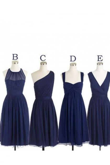 navy blue bridesmaid dresses, bridesmaid dresses short, mismatched bridesmaid dresses, chiffon bridesmaid dress, 2021 bridesmaid dresses, wedding party dresses, dama dresses, vestido de dama de honor