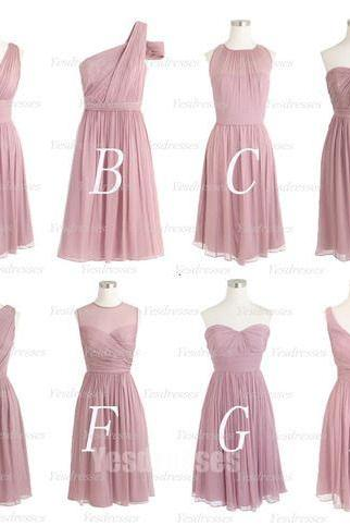 dusty pink bridesmaid dresses, wedding party dresses, 2021 bridesmaid dresses, mismatched bridesmaid dresses, bridesmaid dresses short, wedding guest dresses, chiffon bridesmaid dresses, mismatched bridesmaid dresses, robe de soiree