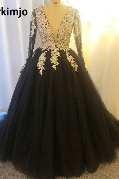 ball gown prom dresses, black prom dress, beaded applique prom dress, v neck prom dresses, long sleeve prom dress, vestidos de noiva, 2021 prom dresses, cheap prom dresses, prom ball gown, vintage prom dresses