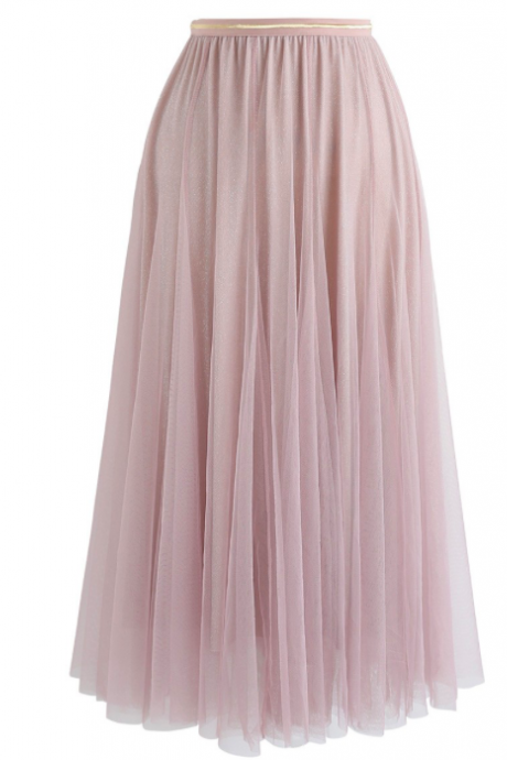 women skirt, dusty pink skirt, long skirt with pleated