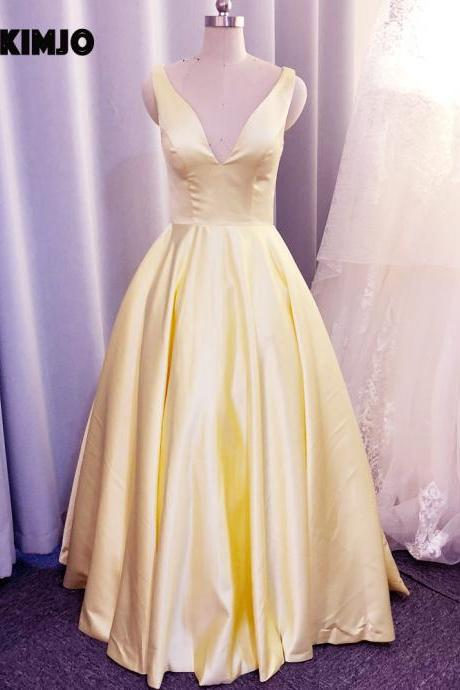 satin prom dress, prom dresses with pockets, yellow prom dress, v neck prom dresses, sleeveless prom dresses, 2021 prom dresses, robe de soiree, vestido de festa, cheap prom dresses, prom dresses 2020