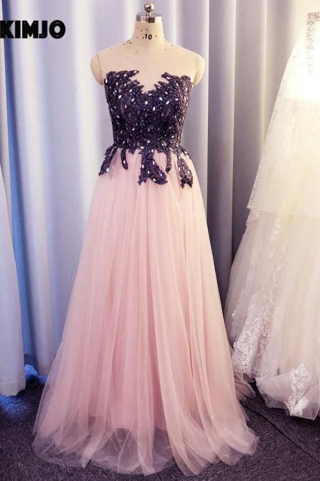 pink prom dresses, lace applique prom dress, beaded prom dress, simple prom dresses, vestido de festa, sleeveless prom dress, elegant prom dresses, 2021 prom dresses, prom dresses long